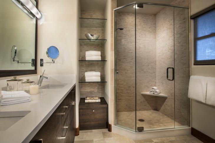 bathroom floating glass shelves