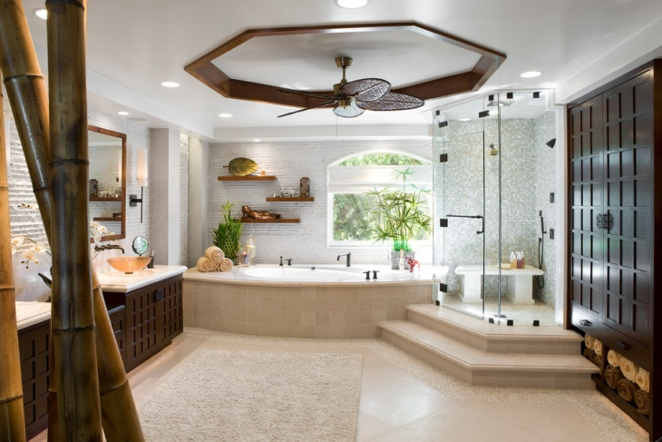 master bathroom floating shelves