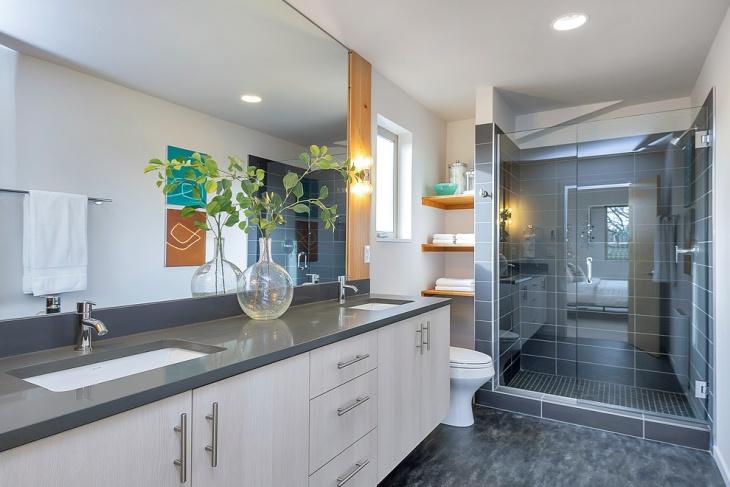 traditional bathroom floating shelves