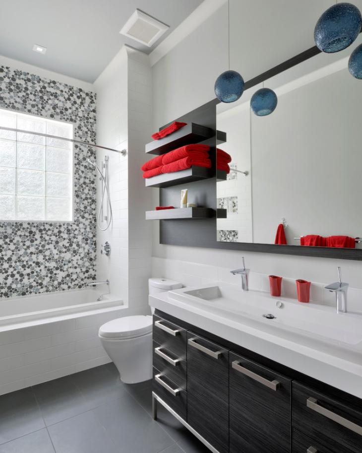 laxury bathroom floating shelves