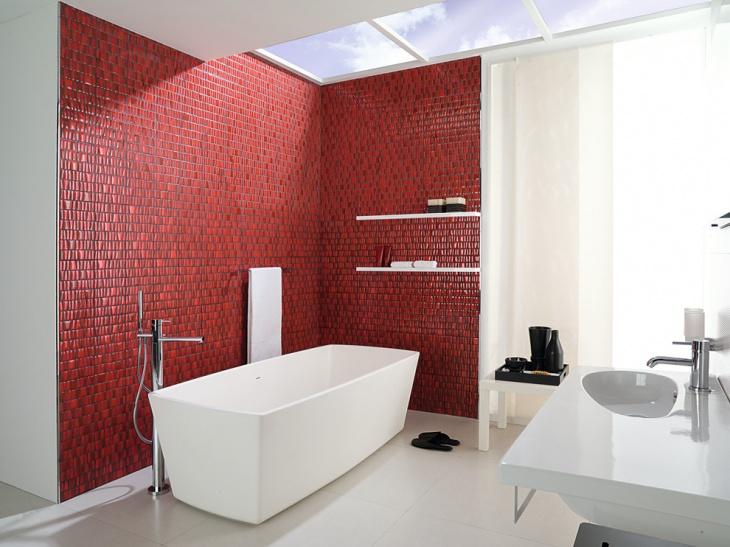 red wall tiles bathroom floating shelves idea
