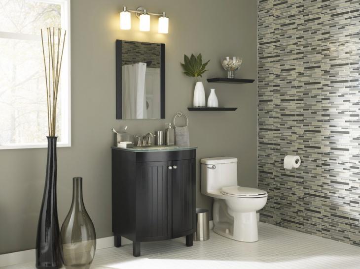 small modern bathroom floating shelves