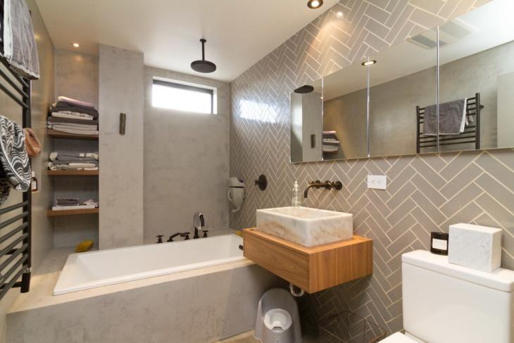 gray bathroom floating shelve idea