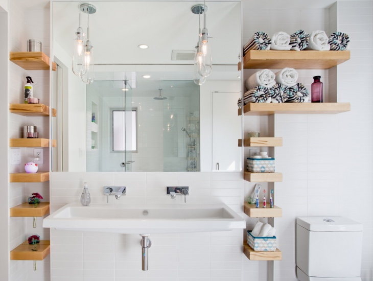 Bathroom with Wood Floating Shelves