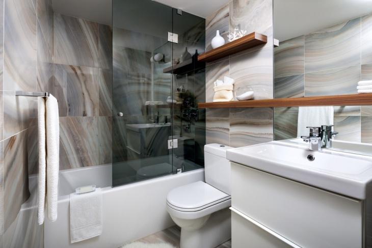 trendy bathroom floating shelves design