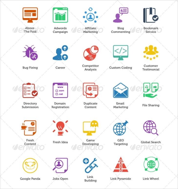 Fresh SEO Icons and SEO and Internet Marketing Icons