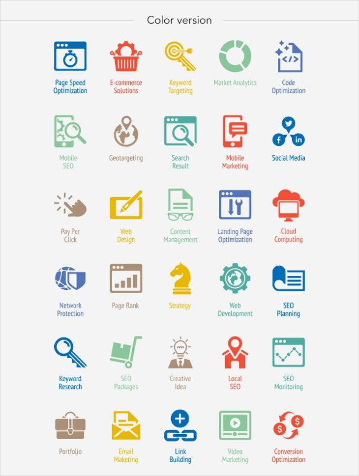 Colorful SEO Internet Icons