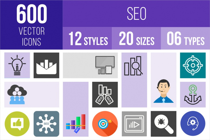 600 unique seo icons