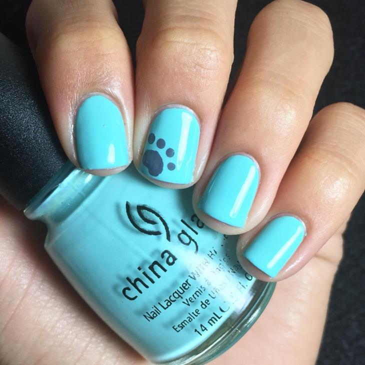 Blue Paw Nail Art