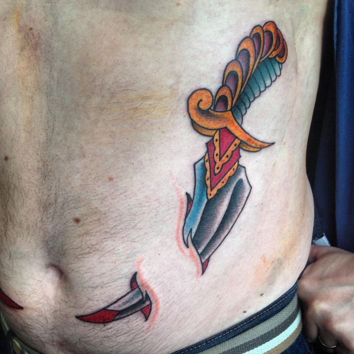 old fashioned knife tattoo