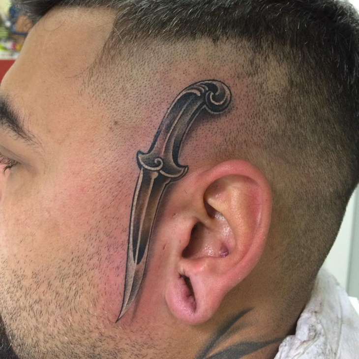 black ink head tattoo