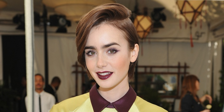 lily collins classy hairstyle idea