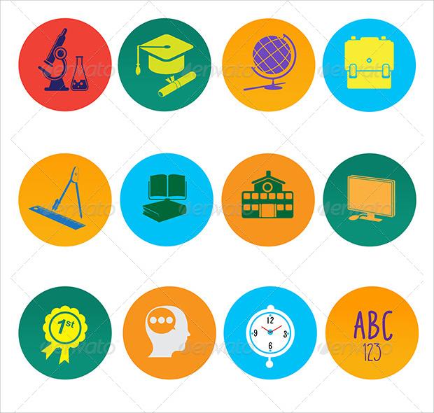 Rounded Flat Education Icons