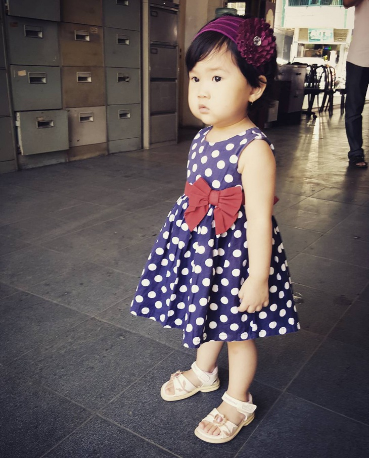 Fashionable Blue Dotted Baby Dress