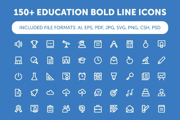 bold line education icons