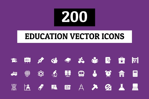 colorful education vector icons