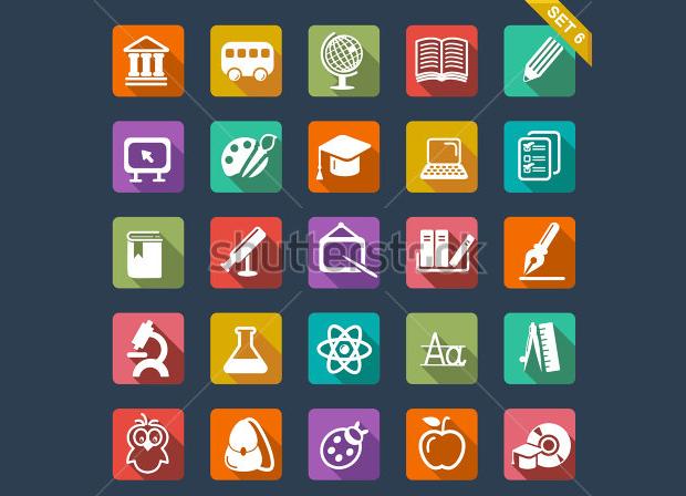 Flat Design Education Icon Set