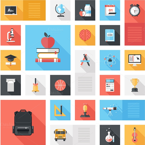 colorful long shadow education icons