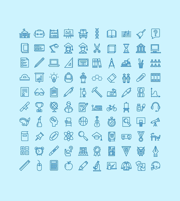 thin outline education icons