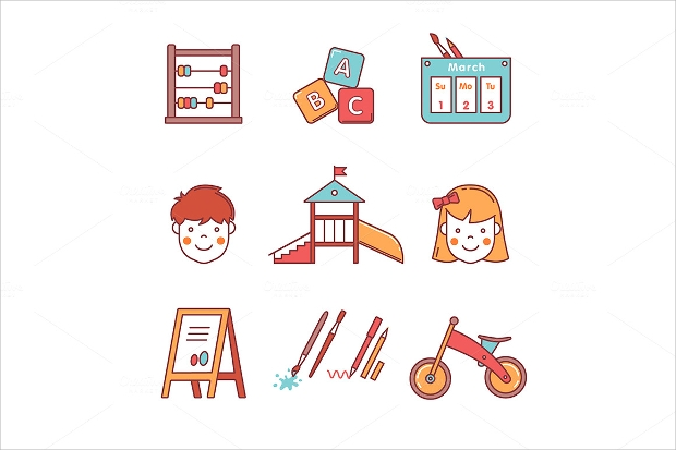 Kindergarten Education Icons