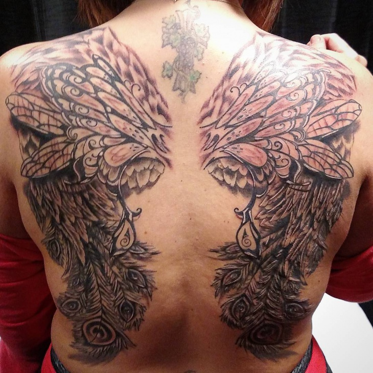 angel wings back tattoo