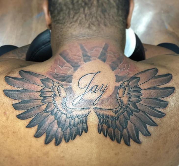 Spirit Angel Tattoo on Below Neck
