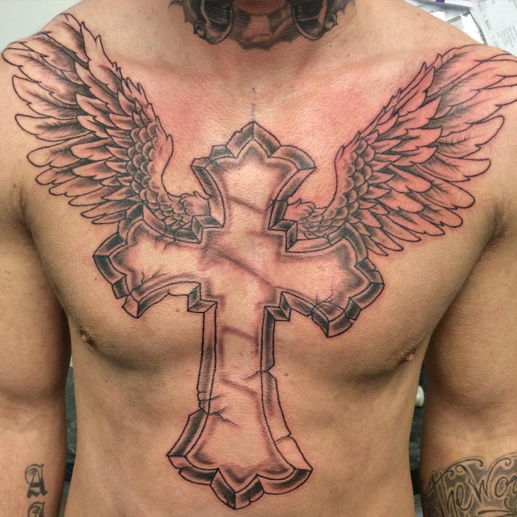 cross angel wing tattoo