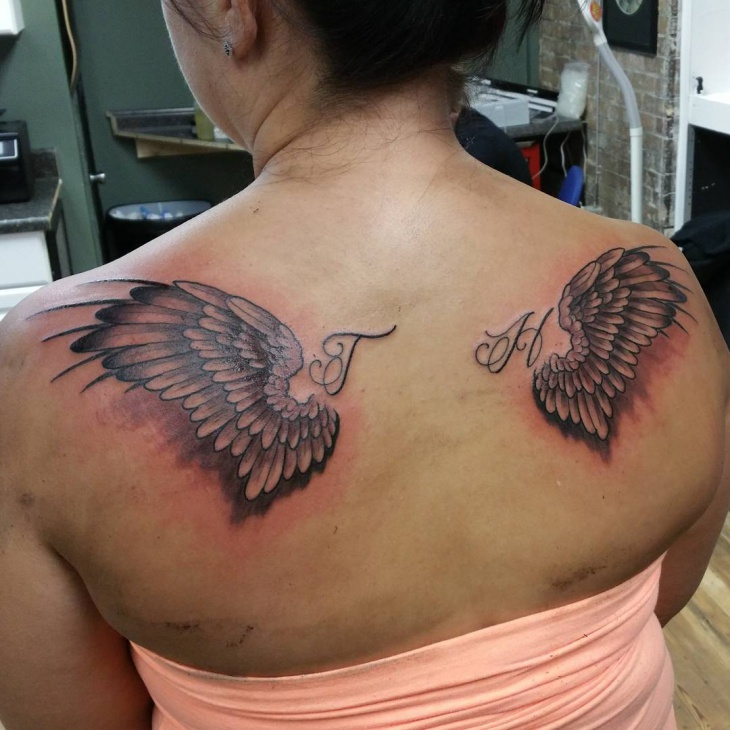 unique wings tattoo for women
