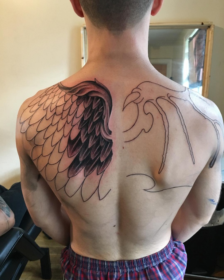 Creative Wing Tattoo for Men