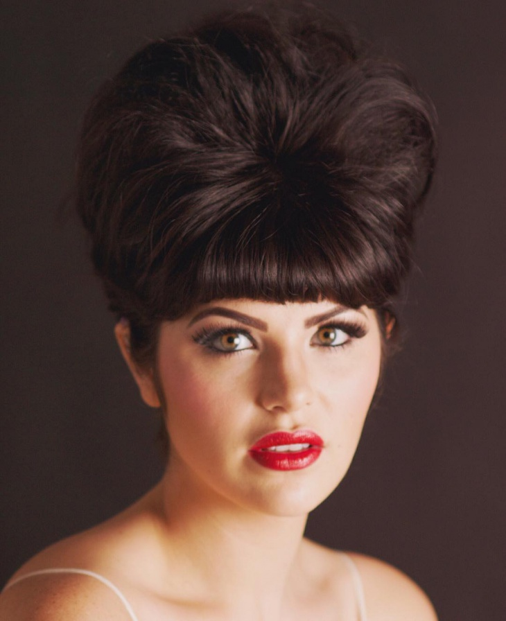 trendy beehive hair with bangs