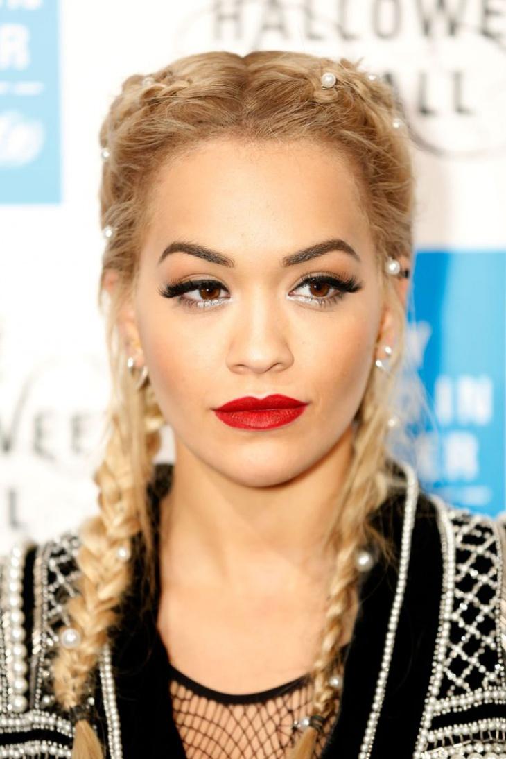Rita Ora Double French Braids
