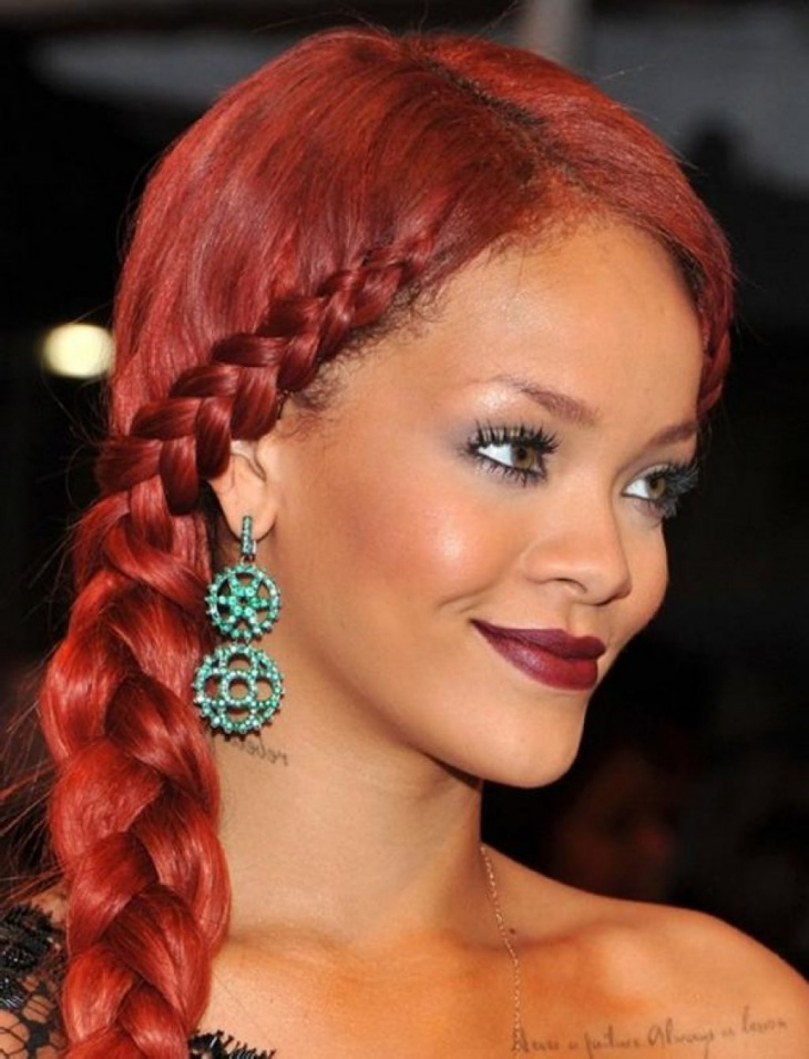 rihanna red french braided hair