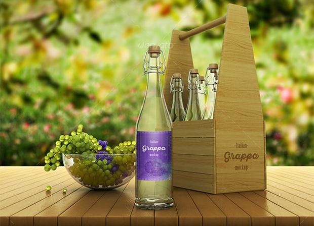 grappa bottle packaging mockup