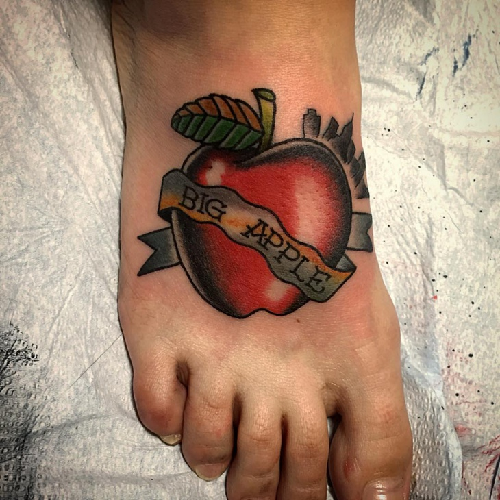 Apple Foot Tattoo Design