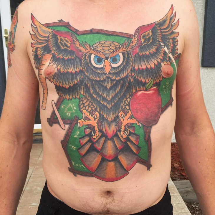 Colorful Owl Tattoo with Apple