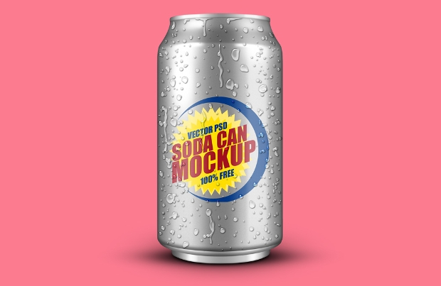 soft drink psd can mockup