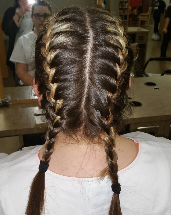 Steps Braid Double French Hairstyle