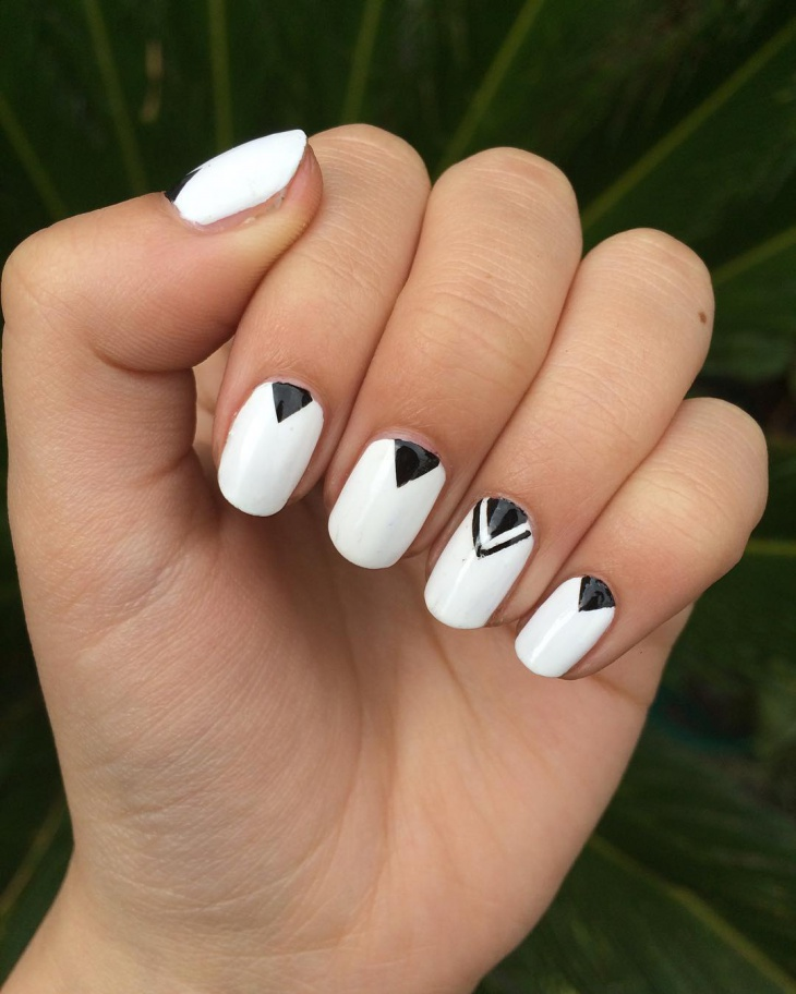 Black and White Geometric Nails - 21+ Triangle Nail Art Designs, Ideas Design Trends - Premium PSD