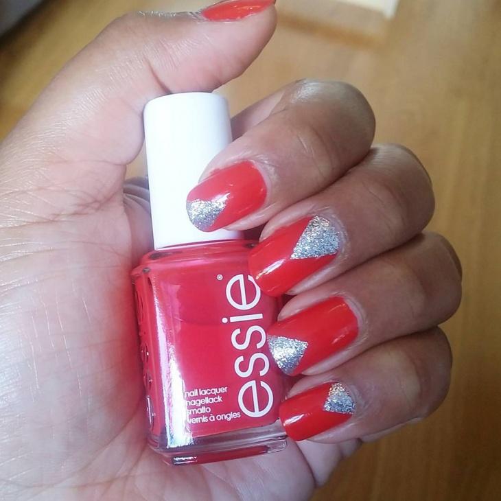 Red Colour Triangle Nail Design Idea