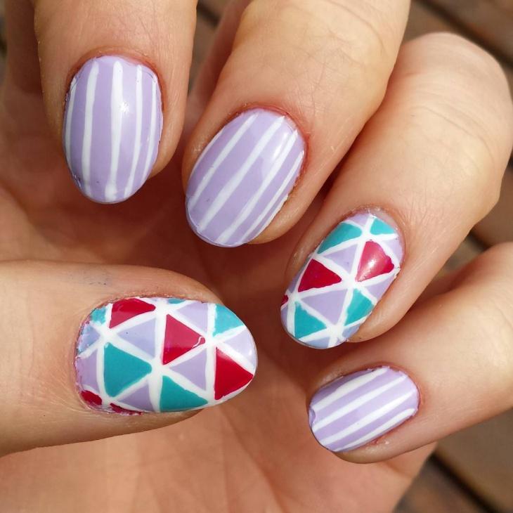 Purple Color Nail Art Idea