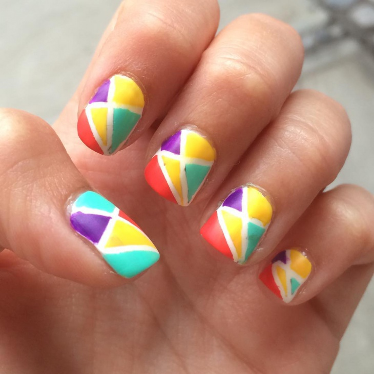 Multi Colored Triangle Nails