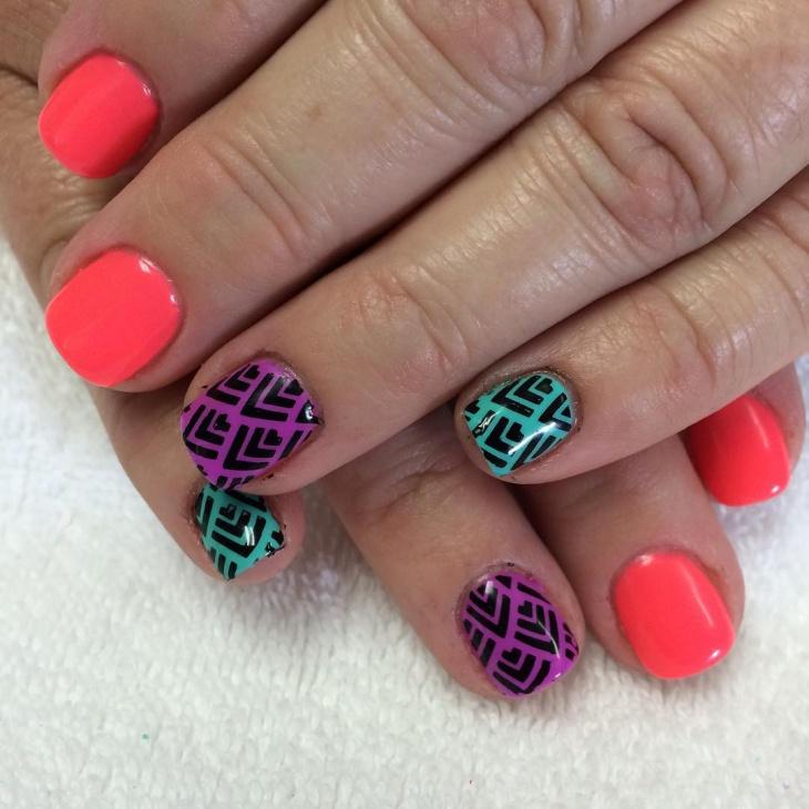 teal nail art design