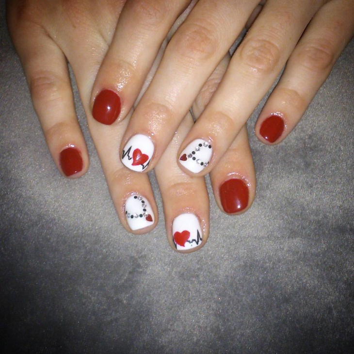 Red Heartbeat Nail Design Idea
