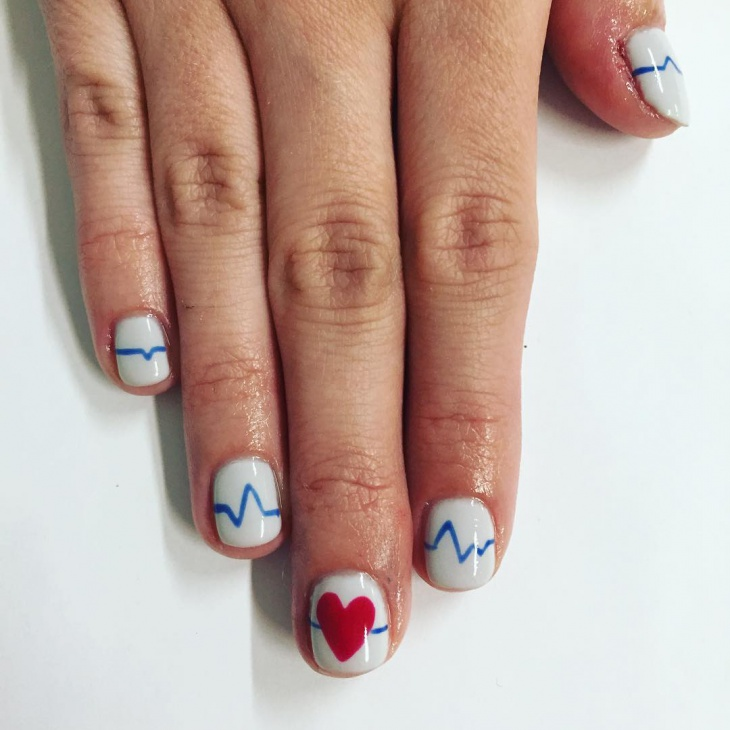 Blue and White Valentine's Day Nails