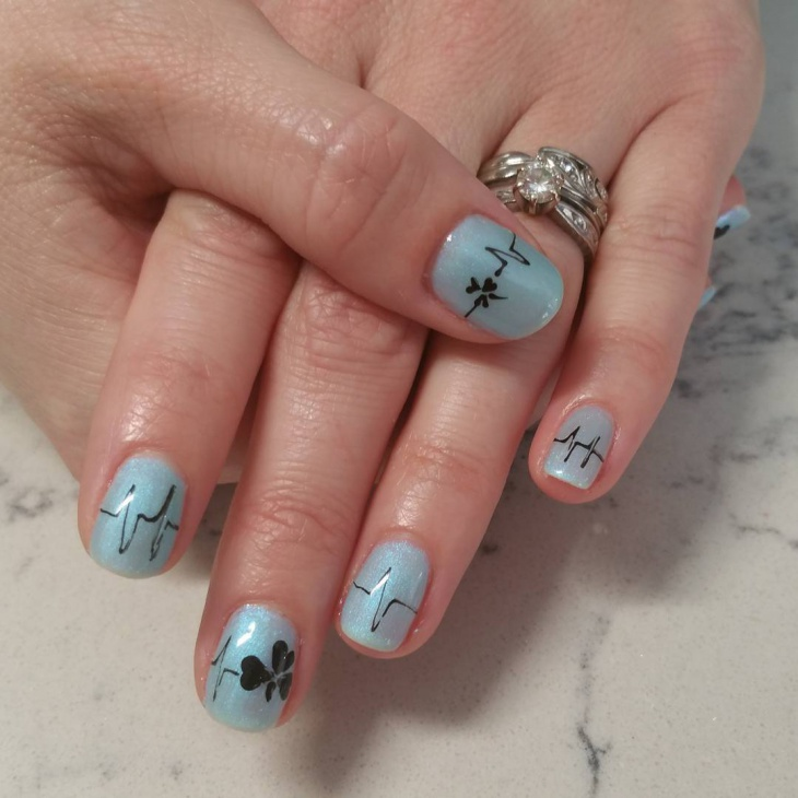 Hearbeat with Floral Print Nail Design