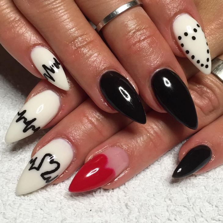 Hand Painted Nail Art Designs: 21+ Heartbeat Nail Art Designs, Ideas