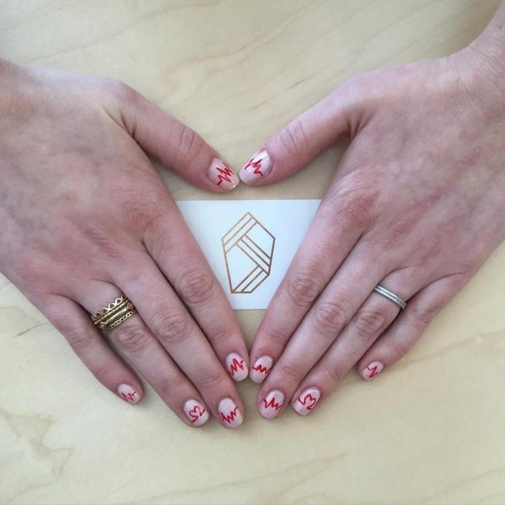 Pink Heart Nail Art