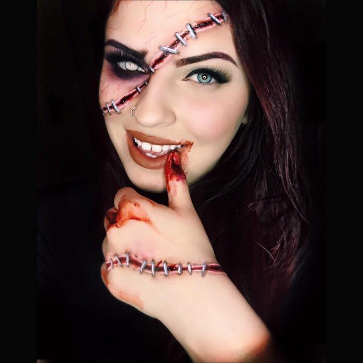 Good and Evil Half face Makeup