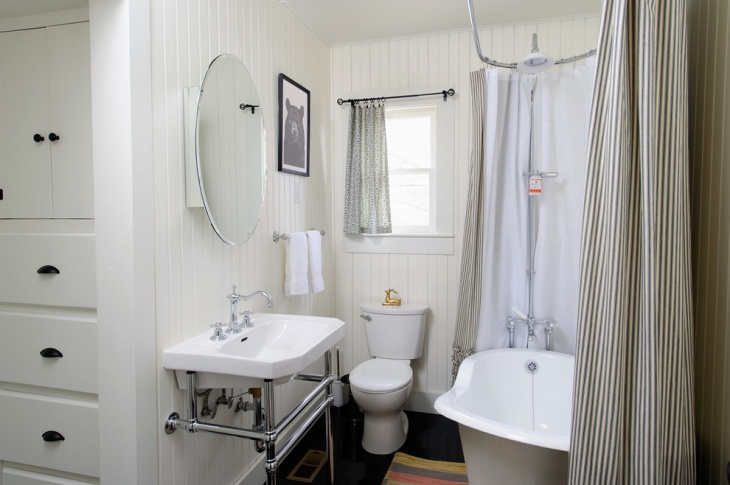 eclectic bathroom with a claw-foot tub