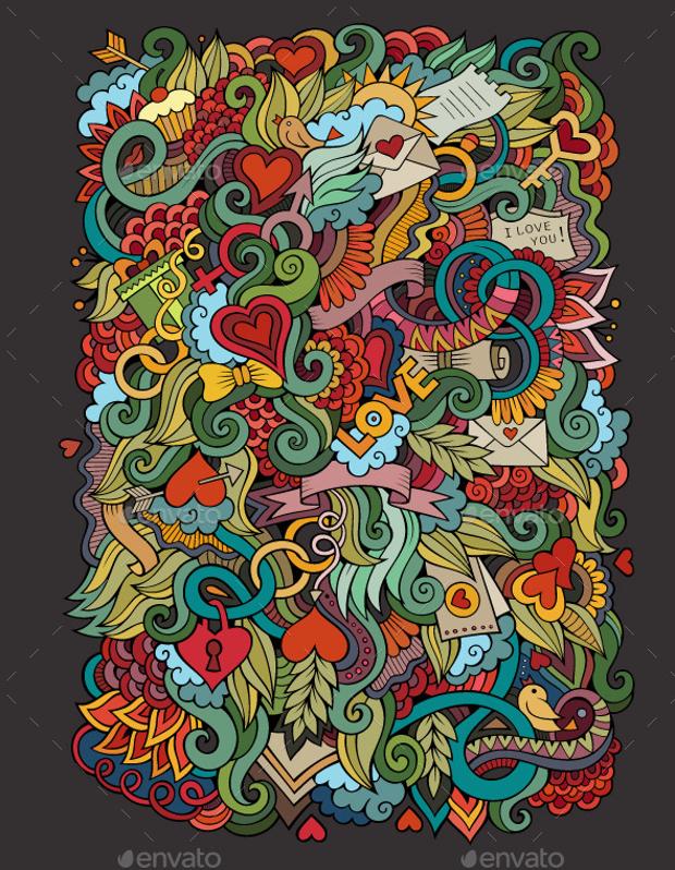 Love Doodle Pattern